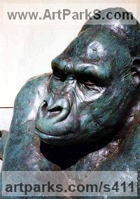Resin and Steel Animals in General sculpture sculpture by sculptor Lucy Kinsella titled: 'Gorilla (bronze resin Seated thinking life size statue/sculpture)'