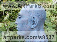 Bronze Resin Male Men Youths Masculine Statues Sculptures statuettes figurines sculpture by Lucy Kinsella titled: 'Monumental Blue Head (Oversize Big garden sculpture)'