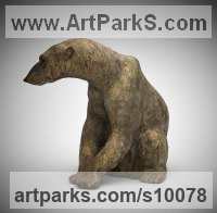 Bronze Bears sculpture by Lucy Kinsella titled: 'Nanuck (Polar Bear Sitting Resting at Peace statue)'