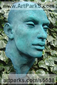 Poly Chromed resin on wood, cement base Literary and Musical Characters sculpture by Lucy Kinsella titled: 'Othello (resin Male Bust/Head garden/Yard statue for sale)'