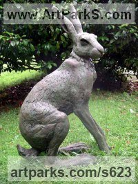 Bronze Resin Hares and Rabbits sculpture by Lucy Kinsella titled: 'Seated Hare (Large Outsize garden Yard sculptures)'