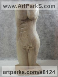 Walnut wood Stylised Nude statue sculpture statuette ornament sculpture by Luigi Bartolini titled: 'Ardhanari (abstract Contemporary Wood nude Girl Torso statue sculpture)'