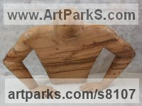 Chestnut wood Stylized People sculpture by Luigi Bartolini titled: 'Destiny of Human Being (Carved Male Torso sculpture)'