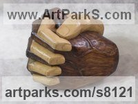 Lime wood Meditation sculpture / Statues / statuettes / figurines sculpture by Luigi Bartolini titled: 'My hands (Big Clasping Brown and White Hands carving)'