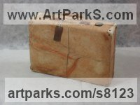 Arolla pine wood Carved Wood sculpture by Luigi Bartolini titled: 'My Roots (Wood Suitcase Valise Luggage sculptures)'