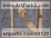 Arolla pine wood Couples or Group sculpture by Luigi Bartolini titled: 'Parting (Carved Wood Farewell Lovers Hands statue)'