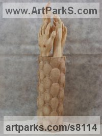 Arolla pine, maple woods Anatomy, Hands and Feet and other human parts of the body sculpture by Luigi Bartolini titled: 'Need working Arms, come people (carved Hands statue)'