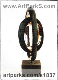 Bronze Abstract Modern Contemporary Avant Garde Sculptures Statues statuettes figurines statuary both Indoor Or outside sculpture by Lynda Hukins titled: 'abstract Embrace (Double Ring Circular Bronze Modern statue/sculpture)'