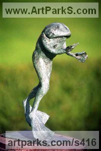 Reptiles Sculpture and Amphibian Sculpture by sculptor artist Lynda Hukins titled: 'Free Spirit 2 (Outsize Large garden Happy Frog Outdoor statue sculpture)' in Bronze