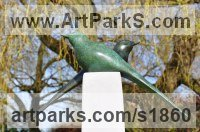 Bronze Wild Bird sculpture by sculptor Lynda Hukins titled: 'Harmony (Bronze Stylised Minimalist abstract Contemporary garden statue)'