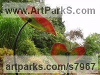 Glass & Steel Organic / Abstract sculpture by Lynette Forrester titled: 'Red and Green Leaves (kiln-formed art glass sculpture)'