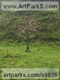 Copper steel frame Tree Plant Shrub Bonsai sculpture statue statuette sculpture by Lynn Mahoney titled: 'Autumn tree'