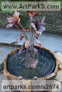 Installation Sculpture by sculptor artist Lynn Mahoney titled: 'Copper Lily (Sculptural Water Fountain Feature statues/sculptures)' in Copper