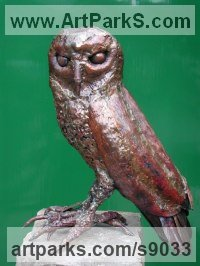 Copper Wild Bird sculpture by Lynn Mahoney titled: 'Owl Magnus (Contemporary Perched Bird of Prey statue)'