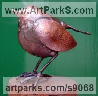 Copper Animal Birds Fish Busts or Heads or Masks or Trophies For Sale or Commission sculpture by Lynn Mahoney titled: 'Robin'