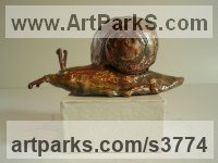 Copper Garden Bird and Animal sculpture by Lynn Mahoney titled: 'Copper Snail (Outsize garden/Yard/outdoor statuettes)'