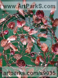 Copper Organic / Abstract sculpture by Lynn Mahoney titled: 'Vines (Circular Foliage Floral Wreath Cartouch statue)'