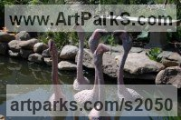 Animals in General sculpture sculpture by sculptor Lyubomir Ivanov titled: 'Flamingo (ceramic Outdoor Outside Exterior garden sculpture)'