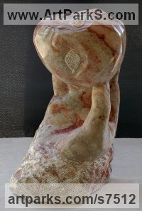 Alabaster stone Human Form: Abstract by sculptor M.C. Carolyn titled: 'Birth (Alabaster sculpture of Baby`s Head at Birth abstract statuette)'