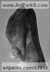 Black steatite (soapstone) Figurative Abstract Modern or Contemporary sculpture statuary statuettes figurines sculpture by sculptor M.C. Carolyn titled: 'Grief (Carved stone Woman Bending Grieving Memorial statue/sculpture)'