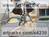 Iron, stone beach and glass Dragons sculpture by sculptor Manuel Garcia Calderon titled: 'Dragon Legend (Steel and Pebble stone garden/Yard Outdoor sculptures)'
