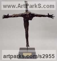 Bronze Crucifiction Christian Cross Alter Piece sculpture Statues carvings Statues statuettes sculpture depicting the crucfiction sculpture by Marc Vinciguerra titled: 'The Homo-Crucifixis (Semi abstract Contemporary Man statue/statuette)'