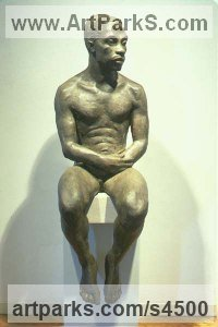 Fondu Concrete Nudes / Male sculpture by sculptor Margot McMahon titled: 'Vince (nude/Naked Afro-American Man sitting sculptures/statues)'