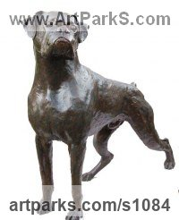 Bronze Resin ( bronze on order) Dogs sculpture by Marie Ackers titled: 'Boxer (Bronze Dog life size garden/Yard sculptures)'