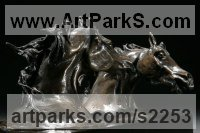 Horse Sculpture / Equines Race Horses Pack HorseCart Horses Plough Horsess by sculptor artist Marie Ackers titled: 'Fighting Stallions (Cold Cast bronze resin Horses sculptures/statuette)' in Bronze resin