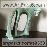 Bronze resin Animal Abstract Contemporary Modern Stylised Minimalist sculpture by Marie Ackers titled: 'Green horse #1'