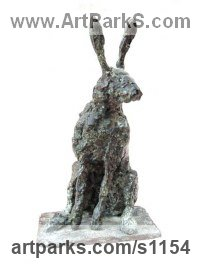 Hares and Rabbits Sculpture by sculptor artist Marie Ackers titled: 'Hare study I (bronze Little Mad March Hare Sitting Alert statuette)' in Bronze
