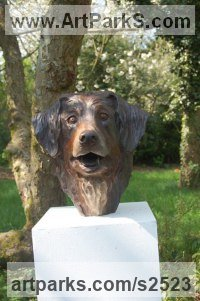 Dogs Sculpture by sculptor artist Marie Ackers titled: 'Kiki (bronze Dog Portrait Head/Bust Commissions, statues/sculptures)' in Bronze