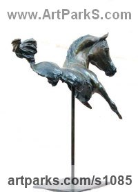 Bronze Horse Head or Bust or Mask or Portrait sculpture statuettes statue figurines sculpture by Marie Ackers titled: 'Kohulan - Bay (abstract Little Indoor Arab Horse statue)'