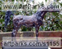 Horse Sculpture / Equines Race Horses Pack HorseCart Horses Plough Horsess by sculptor artist Marie Ackers titled: 'Prince of the Desert (Little Arab Horse Standing sculpture/statuette)' in Bronze