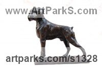 Bronze or resin Pet and Animal Portrait Custom or Bespoke or Commission Commemorative or Memoriaql sculpture statue sculpture by Marie Ackers titled: 'proud (Little bronze Boxer Dog sculpture/statuette/ornament/figurine)'
