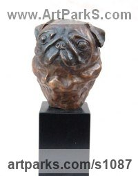 Bronze or resin Animal Kingdom sculpture by Marie Ackers titled: 'Pug Head (bronze Metal little Pug Dog Head sculpture/statue/figurine)'