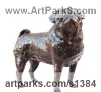 Bronze or resin Domestic Animal sculpture by sculptor Marie Ackers titled: 'Pug study I (bronze resin Standing Pug Dog statue/sculptures)'