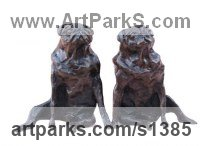 Small Animal Sculpture by sculptor artist Marie Ackers titled: 'Sitting Pugs (Little/Small Dog sculpture/statuettes/figurines/statue)' in Bronze