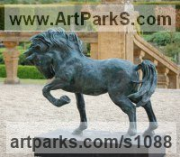 Horse Sculpture / Equines Race Horses Pack HorseCart Horses Plough Horsess by sculptor artist Marie Ackers titled: 'Spirit (Little bronze Stallion Pacing and Pawing, statuette/statue)' in Cold cast resin bronze ( also available in bronze)