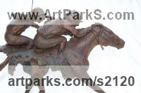 Horse and Rider / Jockey Sculpture / Equestrian Sculpture by sculptor artist Marie Ackers titled: 'The Finishing Line (Horse Racing semi abstract Galloping Horses statue)' in Bronze