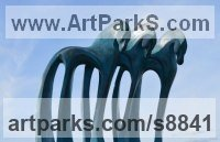 Bronze resin with blue wash patina Modern Abstract Contemporary Avant Garde Sculptures or Statues or statuettes or statuary sculpture by Marie Ackers titled: 'The Three Kings (Contemporary abstract horses statuette)'