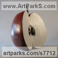 Bronze and marble resin Fruit sculpture by Marie Shepherd titled: 'Cut Apple (Outsiz Coloured Large statue statuette)'