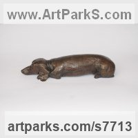 Bronze resin Domestic Animal sculpture by Marie Shepherd titled: 'Dachshund (Sleeping Resting Lying Dog sculptures)'