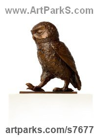 Bronze Small bird sculpture by Marie Shepherd titled: 'Little Owl II (Passing Time bronze life size Perched dtatue sculpture)'