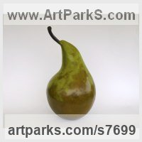 Bronze resin (cold cast bronze) Fruit sculpture by Marie Shepherd titled: 'Pear (Big Outsize Large Ripe Orchard Fruit Indoor sculpture statue)'