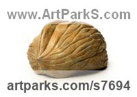 Bronze Indoor Inside Interior Abstract Contemporary Modern Sculpture / statue / statuette / figurine sculpture by sculptor Marie Shepherd titled: 'Walnut v Brain (Large Outsize Nut and Small Size Brain sculpture)'