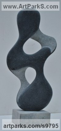 Kanchipuram Blach Granite Carved Abstract Contemporary Modern sculpture statue carving sculpture by Mark Stonestreet titled: 'Yin Yang'