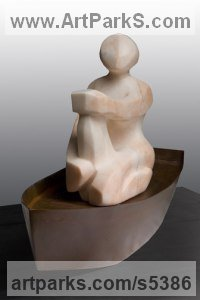Alabaster & Steel Figurative Abstract Modern or Contemporary sculpture statuary statuettes figurines sculpture by sculptor Mark Yale Harris titled: 'Afloat (Sitting Modern abstract Carved Figurine)'