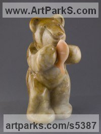 Utah Alabaster Bears sculpture by Mark Yale Harris titled: 'Bear Necessities (Minimalist Carved Eating statue)'