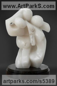 Italian Translucent Ice Alabaster Figurative Abstract Modern or Contemporary sculpture statuary statuettes figurines sculpture by sculptor Mark Yale Harris titled: 'Chaos (Struggling abstract Intertwined Figures Carved stone statuettes)'